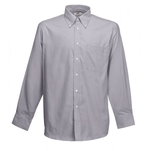 Fruit of the loom Long Sleeve Oxford Shirt Oxford Grey