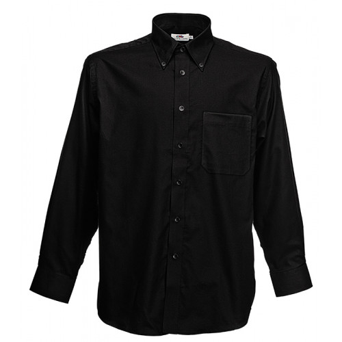 Fruit of the loom Long Sleeve Oxford Shirt Black
