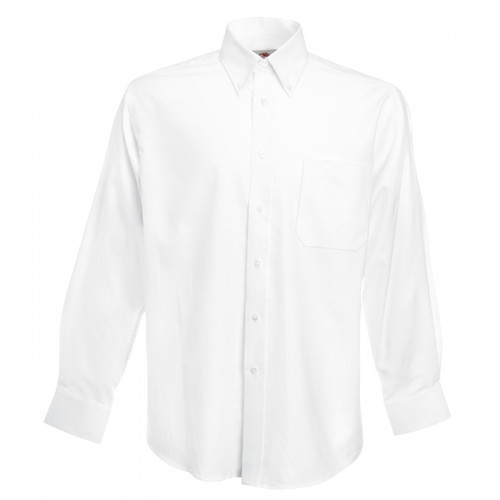 Fruit of the loom Long Sleeve Oxford Shirt White