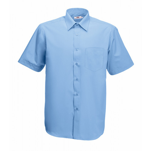 Fruit of the loom Short Sleeve Poplin Shirt Mid Blue