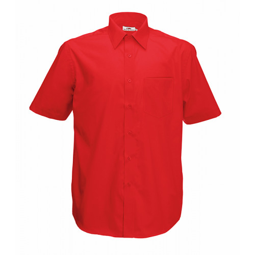Fruit of the loom Short Sleeve Poplin Shirt Red
