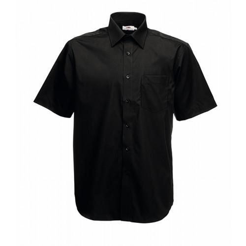 Fruit of the loom Short Sleeve Poplin Shirt Black