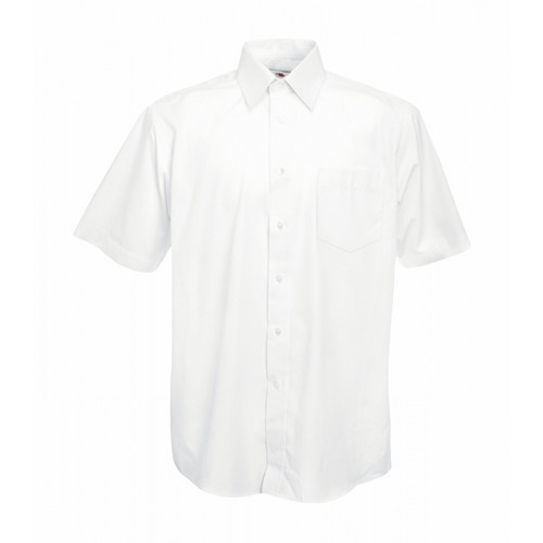 Fruit of the loom Short Sleeve Poplin Shirt White