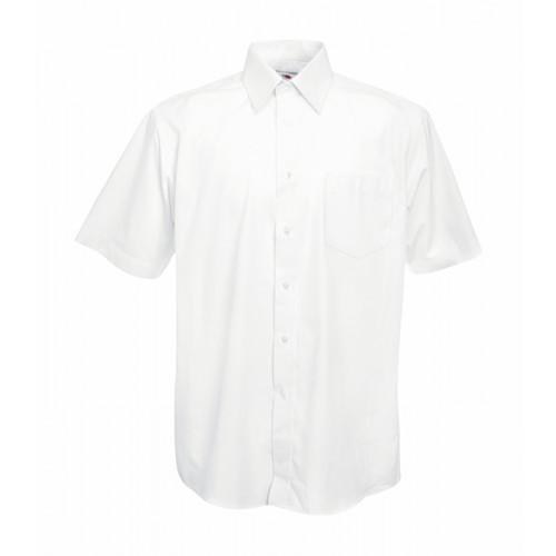 Fruit of the loom Short Sleeve Poplin Shirt White