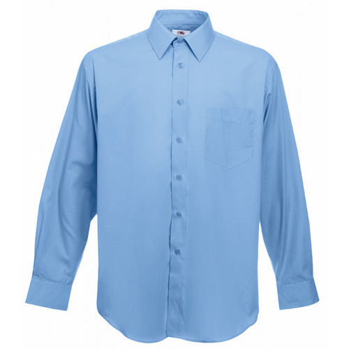 Fruit of the loom Long Sleeve Poplin Shirt Mid Blue
