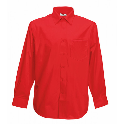 Fruit of the loom Long Sleeve Poplin Shirt Red