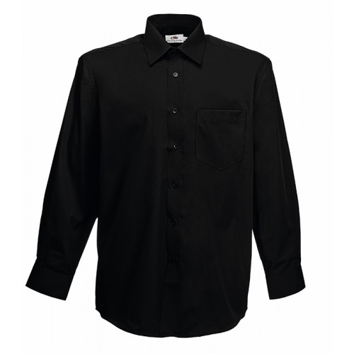 Fruit of the loom Long Sleeve Poplin Shirt Black