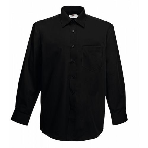 Fruit of the loom Long Sleeve Poplin Shirt Black