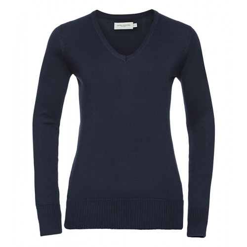 Russell Ladies Vneck Pullover Navy