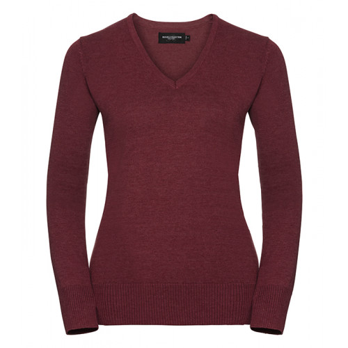 Russell Ladies Vneck Pullover Cranberry Marl