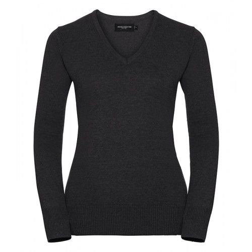 Russell Ladies Vneck Pullover Charcoal Marl