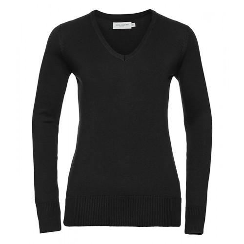 Russell Ladies Vneck Pullover Black
