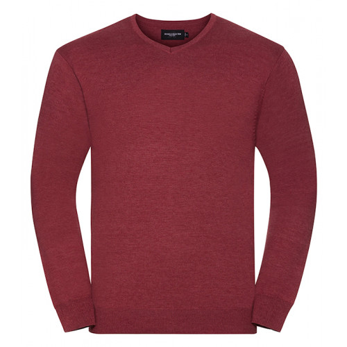 Russell Mens Vneck Pullover Cranberry Marl