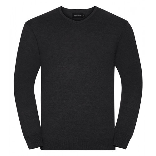 Russell Mens Vneck Pullover Charcoal Marl