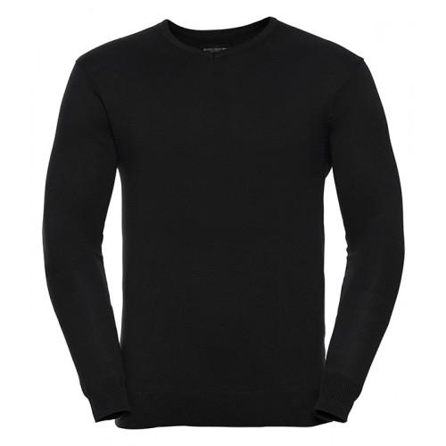 Russell Mens Vneck Pullover Black