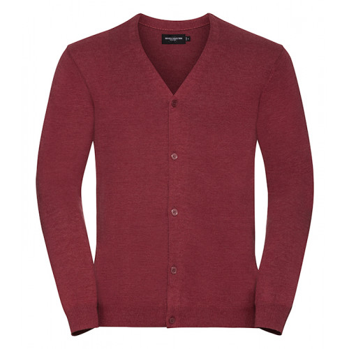 Russell Men´s V-neck Cardigan Cranberry Marl