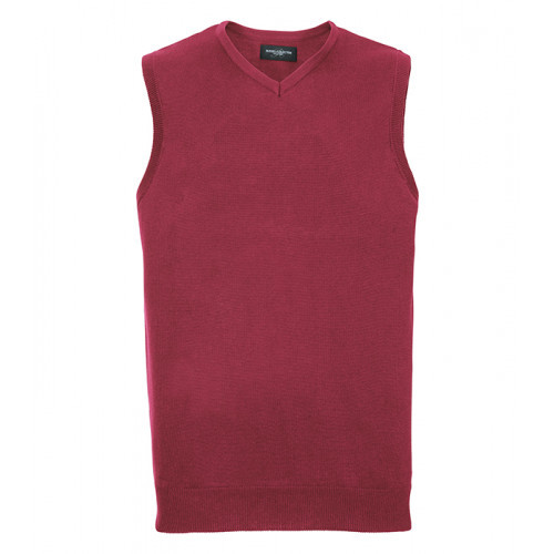 Russell Mens Sleeveless Pullover Cranberry Marl