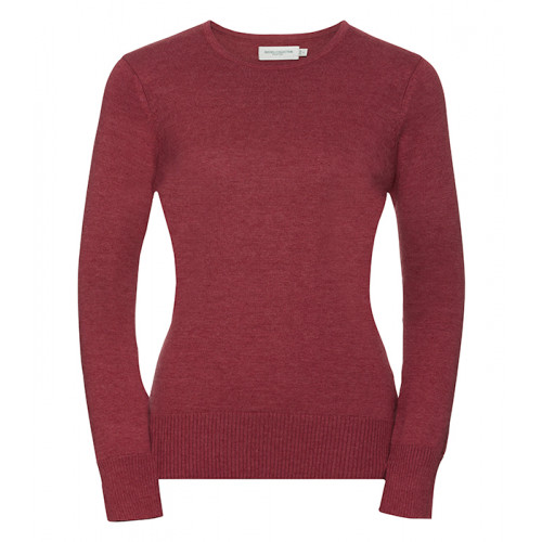 Russell Ladies Crew Neck Pullover Cranberry Marl
