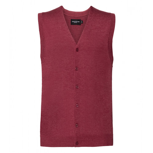Russell Men´s V-neck Sleeveless Cardigan Cranberry Marl