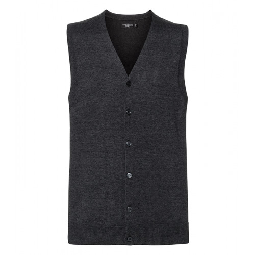 Russell Men´s V-neck Sleeveless Cardigan Charcoal Marl