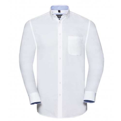 Russell Men´s LS Tailored Washed Oxford Shirt White/Oxford Blue