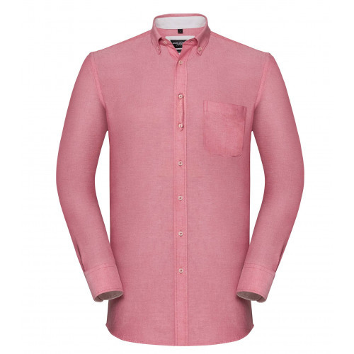 Russell Men´s LS Tailored Washed Oxford Shirt Oxford Red/Cream