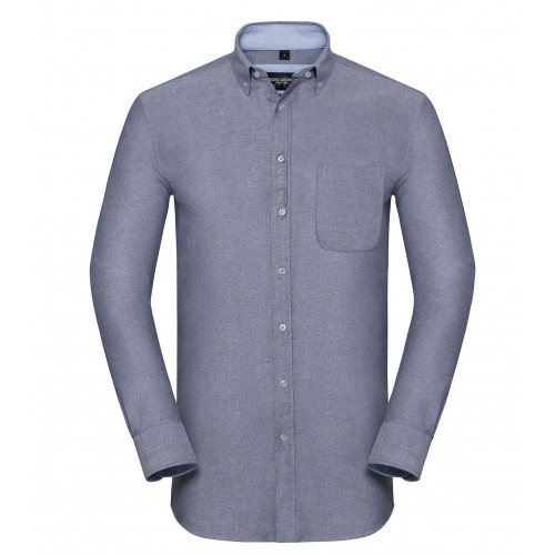 Russell Men´s LS Tailored Washed Oxford Shirt Oxford Navy/Oxford Blue