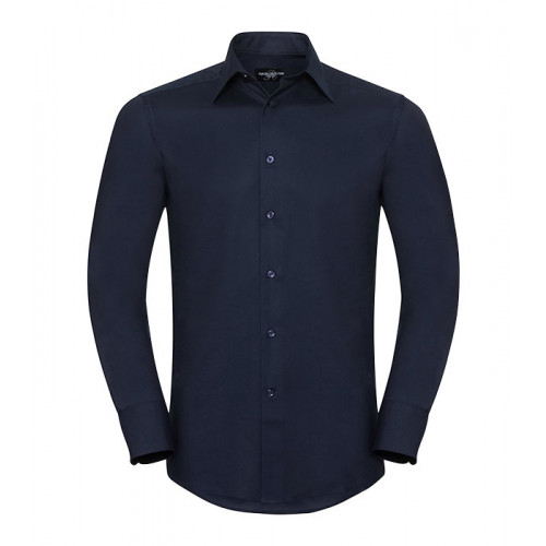Russell Men´s Long Sleeve Easy Care Tailored Oxford Shirt Bright Navy