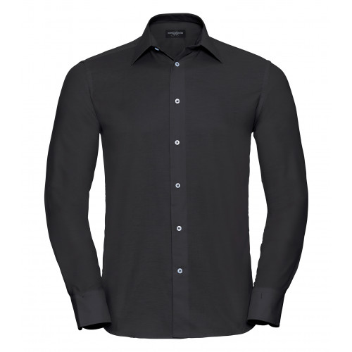 Russell Men´s Long Sleeve Easy Care Tailored Oxford Shirt Black