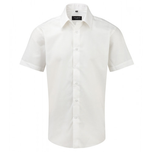 Russell Men`s SS Easy Care Tailored Oxford Shirt White