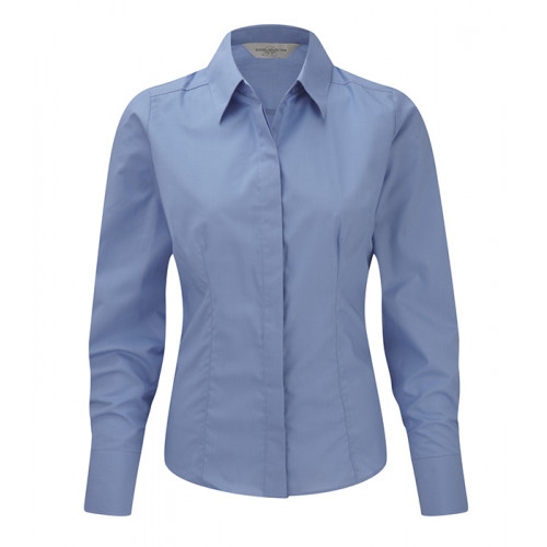 Russel Ladies´ LS Polycotton Easy Care Fitted Poplin Shir Corporate Blue