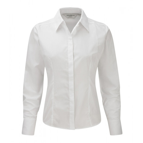 Russel Ladies´ LS Polycotton Easy Care Fitted Poplin Shir White