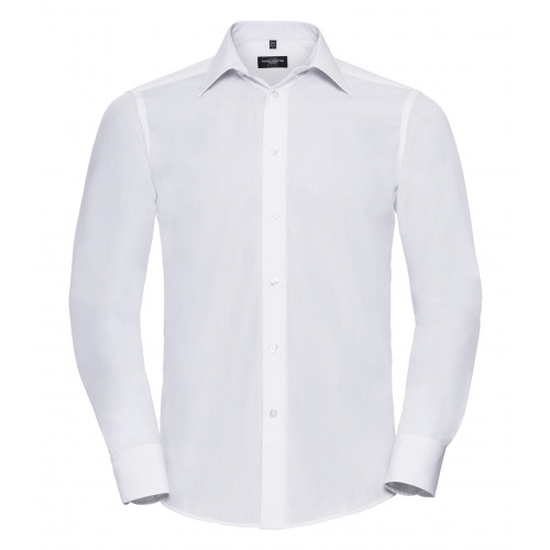 Russel Men´s LS Polycotton Easy Care Tailored Poplin Shir White