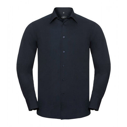 Russel Men´s LS Polycotton Easy Care Tailored Poplin Shir French Navy
