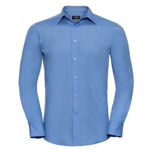 Russel Men´s LS Polycotton Easy Care Tailored Poplin Shir Corporate Blue