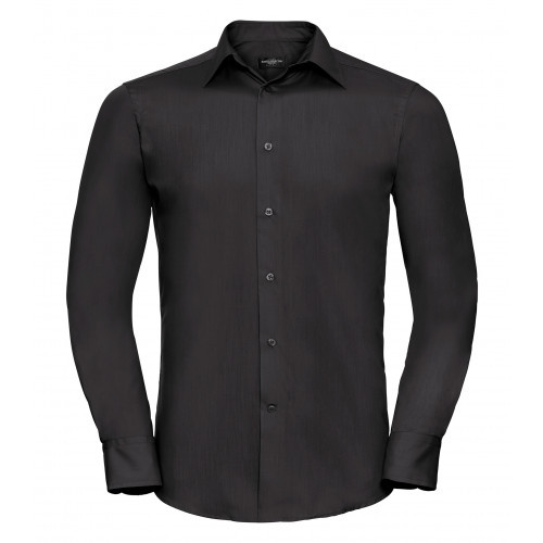 Russel Men´s LS Polycotton Easy Care Tailored Poplin Shir Black