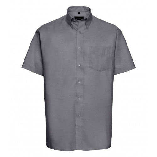 Russell Men´s Short Sleeve Easy Care Oxford Shirt Silver