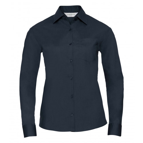 Russell Ladies´ Long Sleeve Polycotton Easy Care Poplin Shirt French Navy