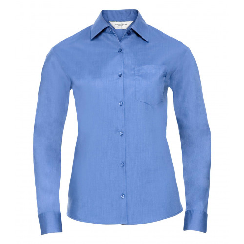 Russell Ladies´ Long Sleeve Polycotton Easy Care Poplin Sh Corporate Blue