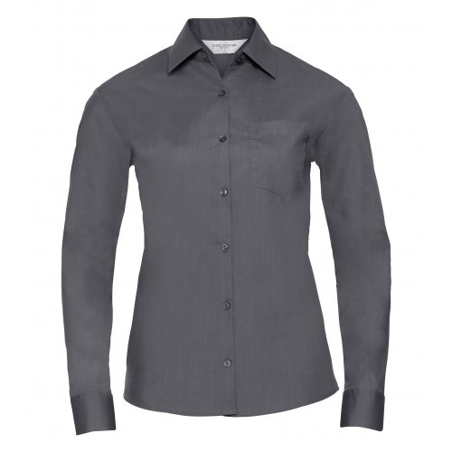 Russell Ladies´ Long Sleeve Polycotton Easy Care Poplin Shirt Convoy Grey