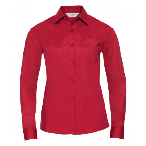 Russell Ladies´ Long Sleeve Polycotton Easy Care Poplin Shirt Classic Red
