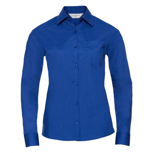 Russell Ladies´ Long Sleeve Polycotton Easy Care Poplin Shirt Bright Royal