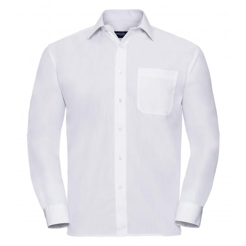 Russell Men´s Long Sleeve Polycotton Easy Care Poplin Shirt White