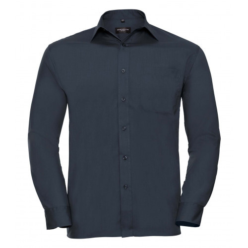 Russell Men´s Long Sleeve Polycotton Easy Care Poplin Shirt French Navy