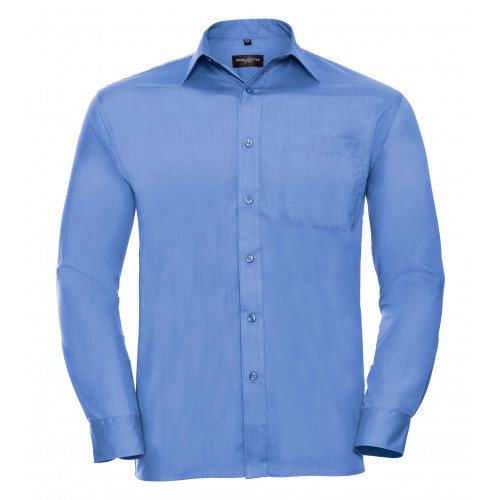 Russell Men´s Long Sleeve Polycotton Easy Care Poplin Shirt Corporate Blue
