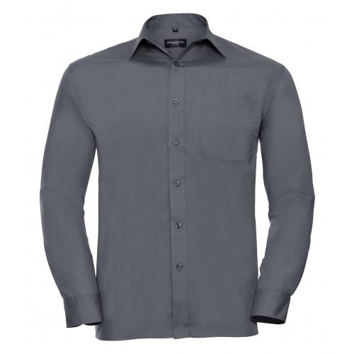 Russell Men´s Long Sleeve Polycotton Easy Care Poplin Shirt Convoy Grey