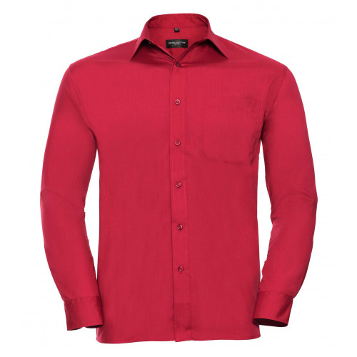 Russell Men´s Long Sleeve Polycotton Easy Care Poplin Shirt Classic Red