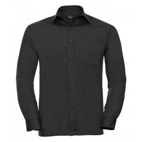 Russell Men´s Long Sleeve Polycotton Easy Care Poplin Shirt Black