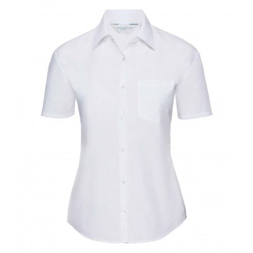Russell Ladies´ Short Sleeve Polycotton Easy Care Poplin S White