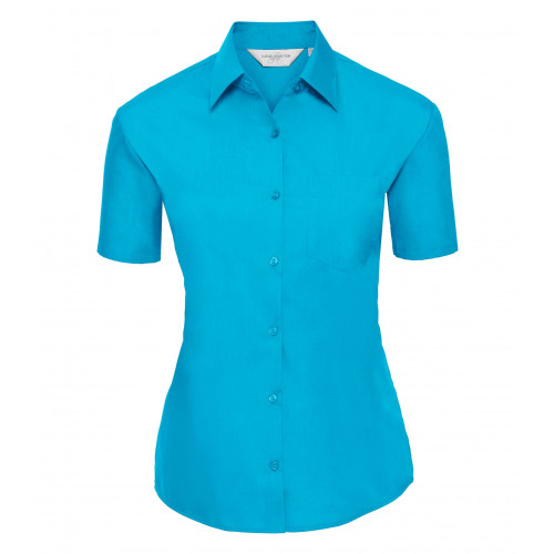 Russell Ladies´ Short Sleeve Polycotton Easy Care Poplin S Turquoise